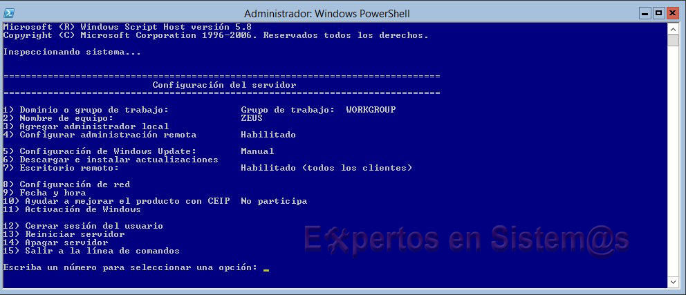 Comando sconfig en Windows Server 2012