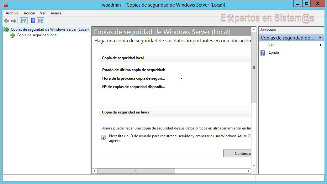 Aplicación Copia de Seguridad de Windows Server 2012