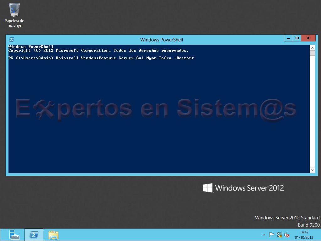 Desinstalación de la GUI de Windows Server 2012 para volver al modo Server Core