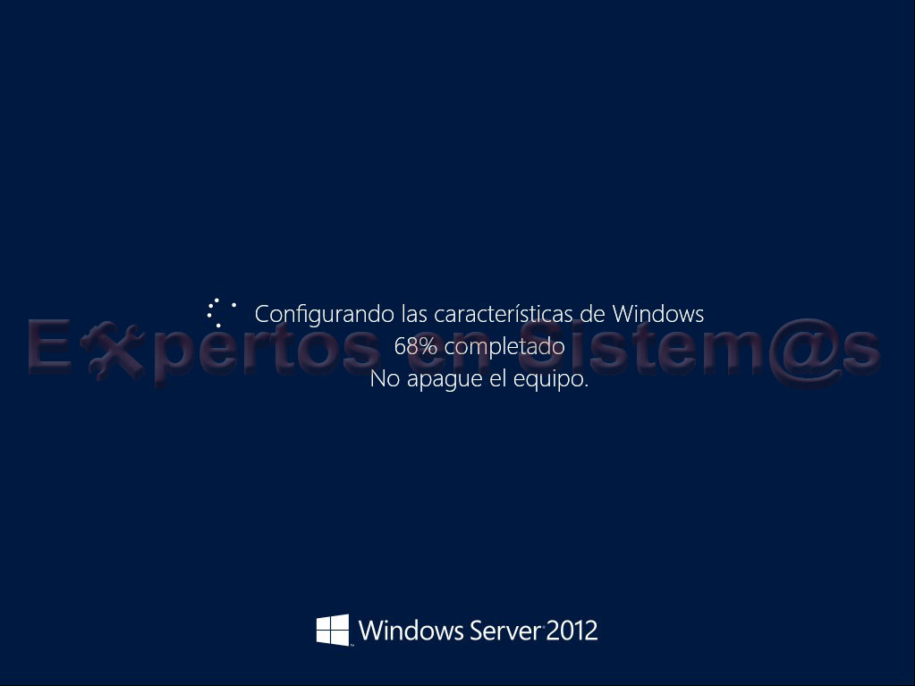Proceso de instalación de la GUI de Windows Server 2012