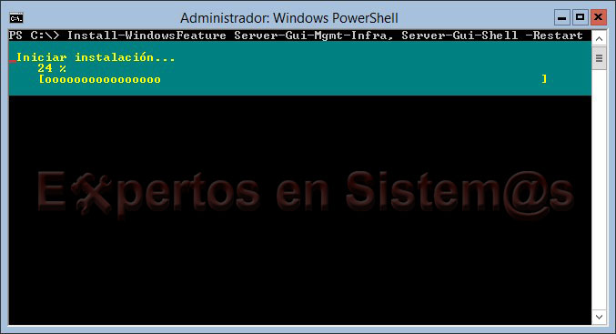 Instalación de la GUI de Windows Server 2012 desde PowerShell