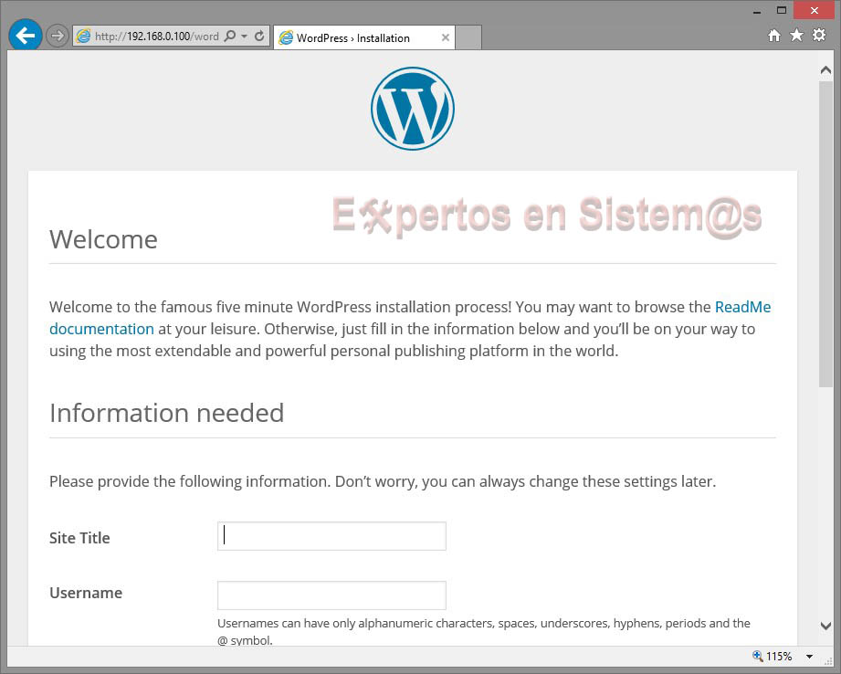 Instalación de WordPress - Página de login